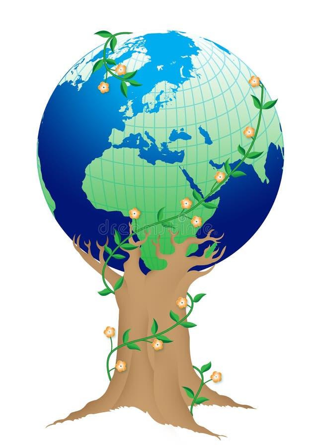 grönaktig görande ny värld royaltyfri illustrationer