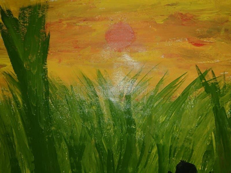 Grönaktig målning av solnedgången royaltyfri foto