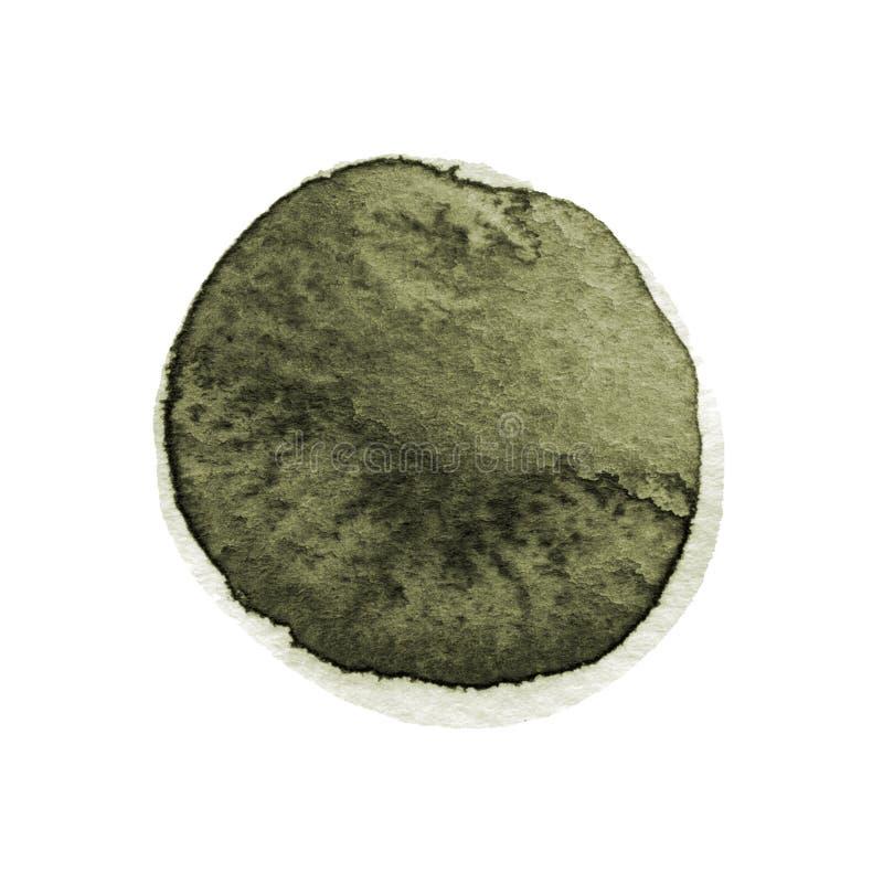Grönkål och mörker - grön rund vattenfärgborsteslaglängd som isoleras på vit bakgrund Akvarellfläcktextur Olivgrön gråbrun färgci stock illustrationer