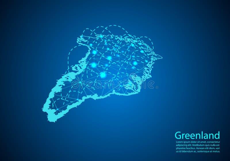 Grönlandöversikt med knutpunkter som anknytas av linjer begrepp av global comm vektor illustrationer