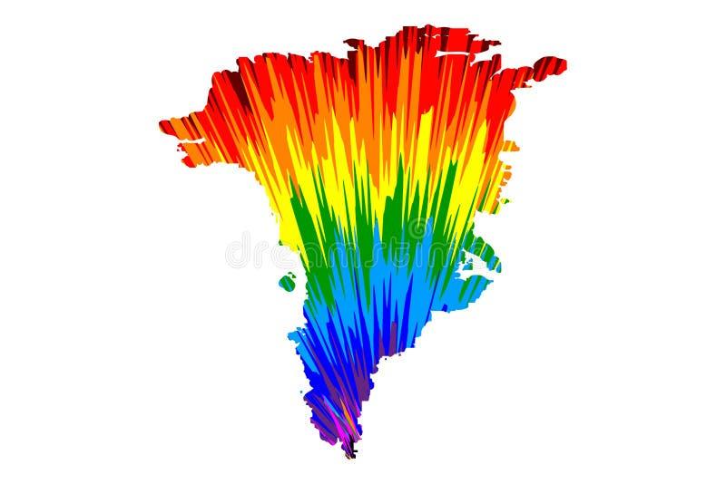 Grönland-Insel - Karte ist entworfenes buntes Muster der Regenbogenzusammenfassung vektor abbildung