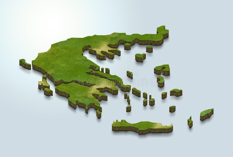 Grönland-Karte ist auf einem blauen Hintergrund 3d grün stock abbildung