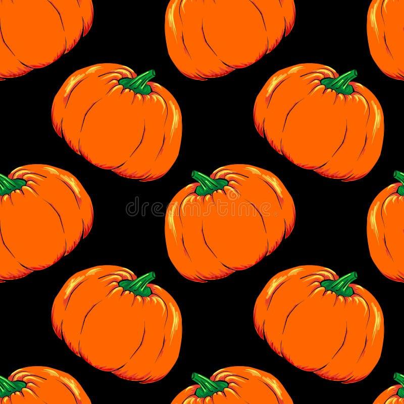 Grönsak för allhelgonaaftonstålar-nolla-lykta vektor för modell för orange pumpa sömlös stock illustrationer
