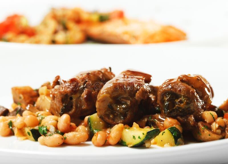 grönsak för rulle för meat för nötköttmaträtt varm arkivfoton