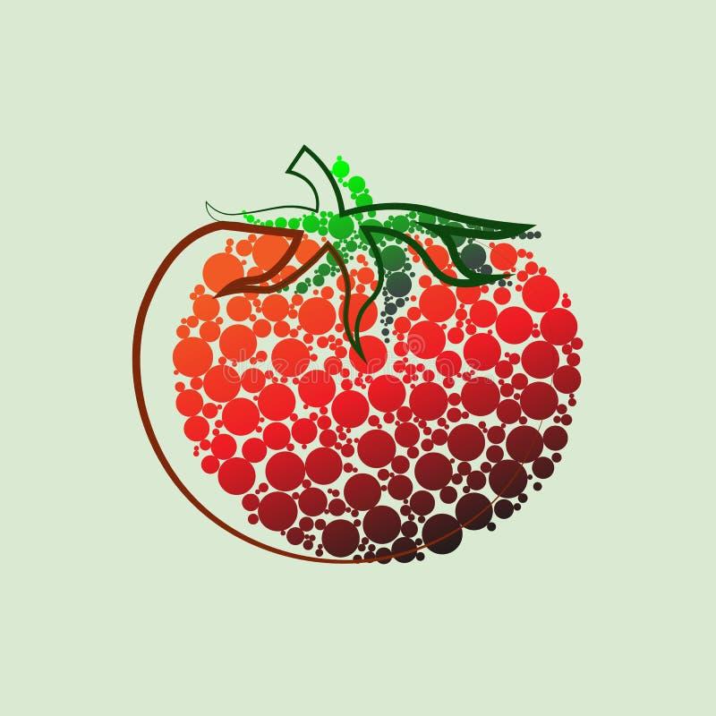grönsak för tomat för samlingsfruktsymbol Isolerat anmärka Tomatlogo Grönsak från lantgården Organisk mat också vektor för coreld royaltyfri illustrationer