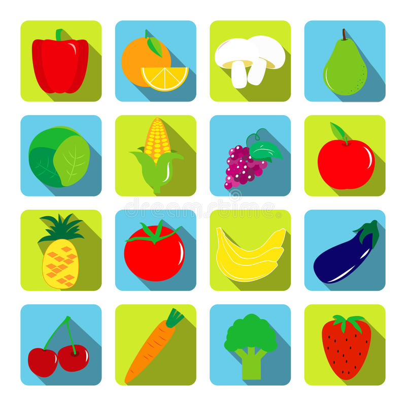 Grönsak- och fruktvektorsymboler med långa skuggor i plan vagel stock illustrationer