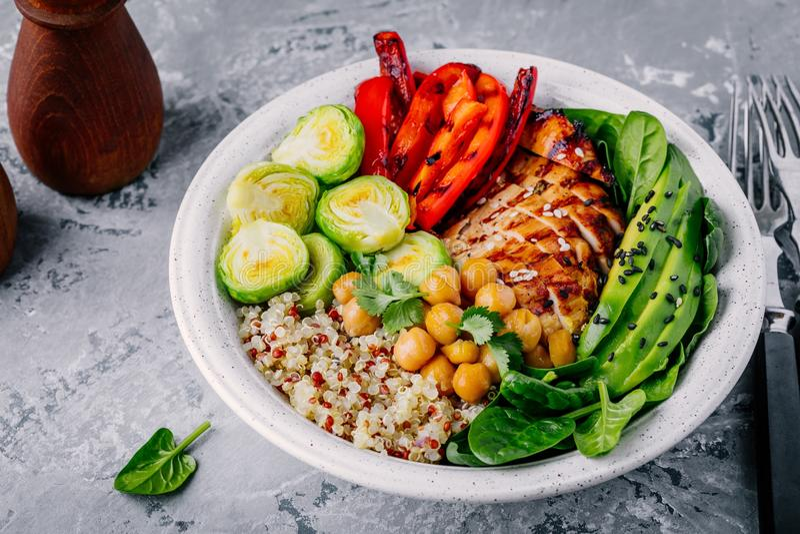Grönsakbunkelunch med grillad höna och quinoa, spenat, avokado, brussels groddar, paprika och kikärt royaltyfria foton