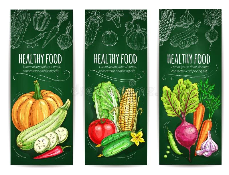 Grönsaken sund matkrita skissar baneruppsättningen vektor illustrationer