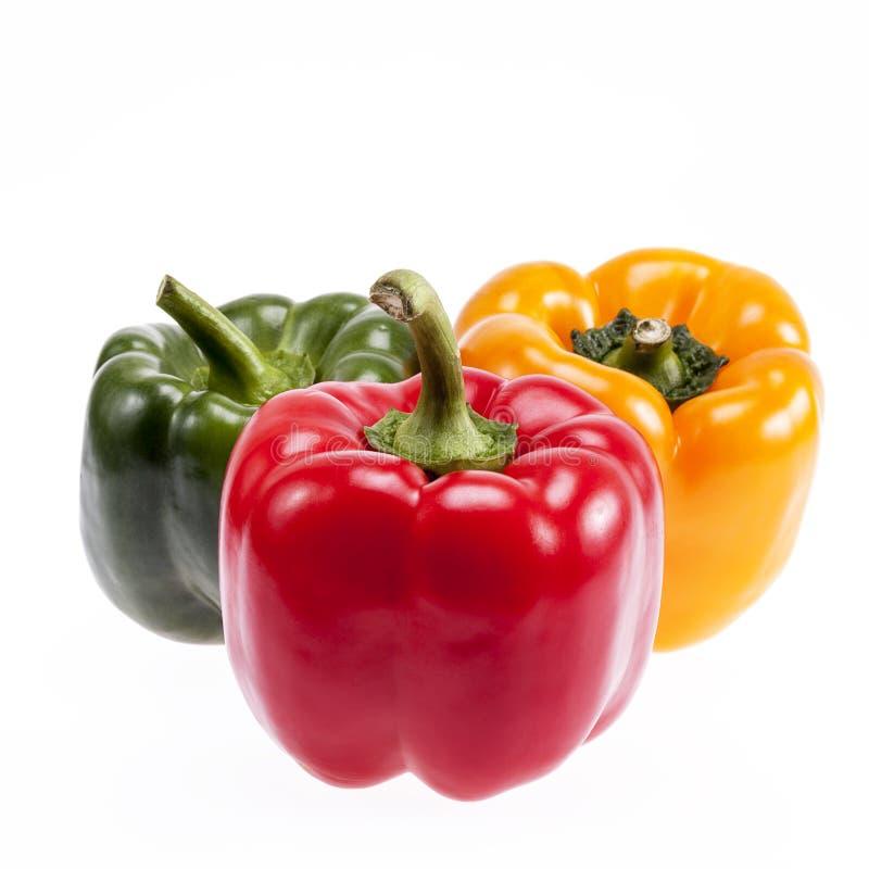 grönsaker av färgrika peppar som isoleras på vit bakgrund arkivbilder