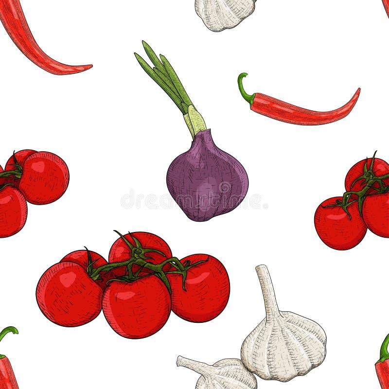 Grönsaker Den färgade handen som dras, skissar som sömlös modell vektor illustrationer