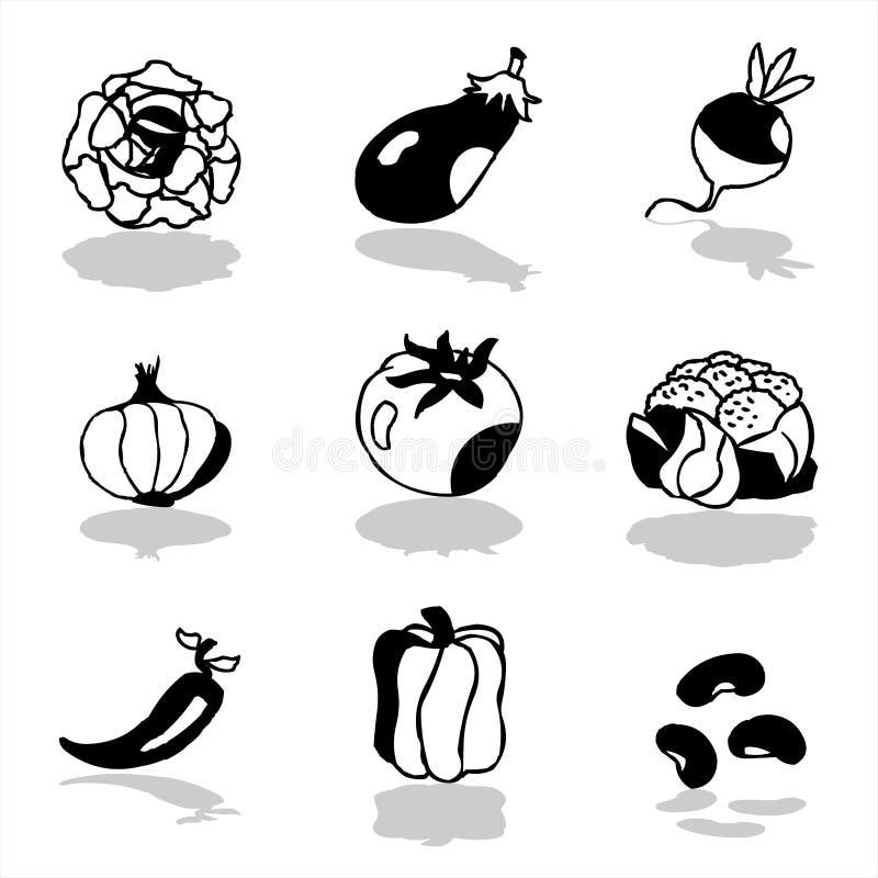 grönsaker för 1 symboler vektor illustrationer