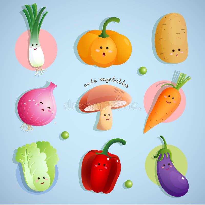 grönsaker för gullig modell för tecken seamless royaltyfri illustrationer