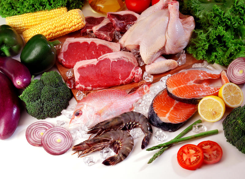 grönsaker för ny meat royaltyfri bild