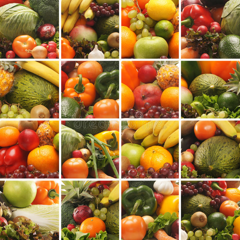 grönsaker för nya frukter för collage smakliga arkivfoton
