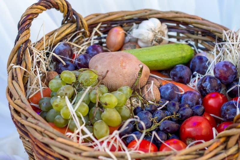 Grönsaker, frukter och bär i en korg på Thanksgiving_ royaltyfri foto