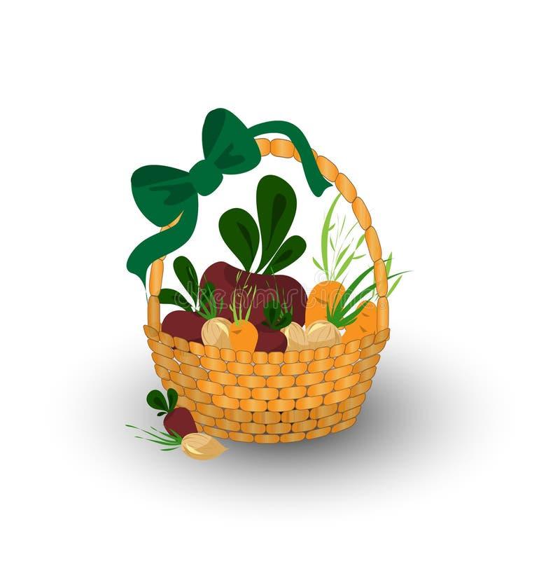 Grönsaker i en korg med beta, morötter och lökar stock illustrationer