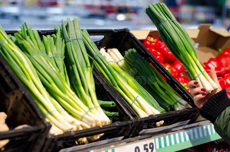 Grönsaker i supermarket royaltyfria bilder