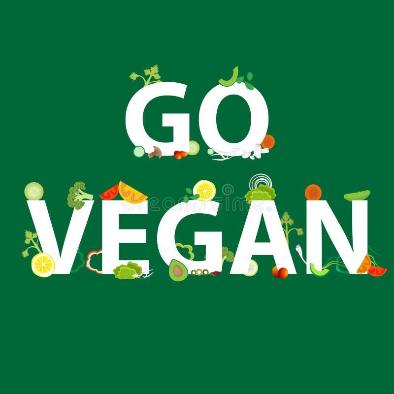 Grönsaker mönstrar med en inskrift går strikt vegetarian för rengöringsduken och tryckgarnering, vektorn, sund mat vektor illustrationer