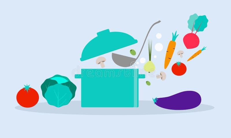 Grönsaker med pannan arkivbild