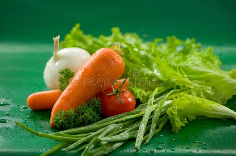 Grönsaker - morötter, tomater, lökar, grönsallat, salladslökar royaltyfria foton