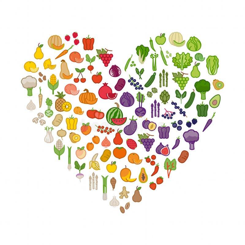 Grönsaker och frukter i en hjärtaform stock illustrationer