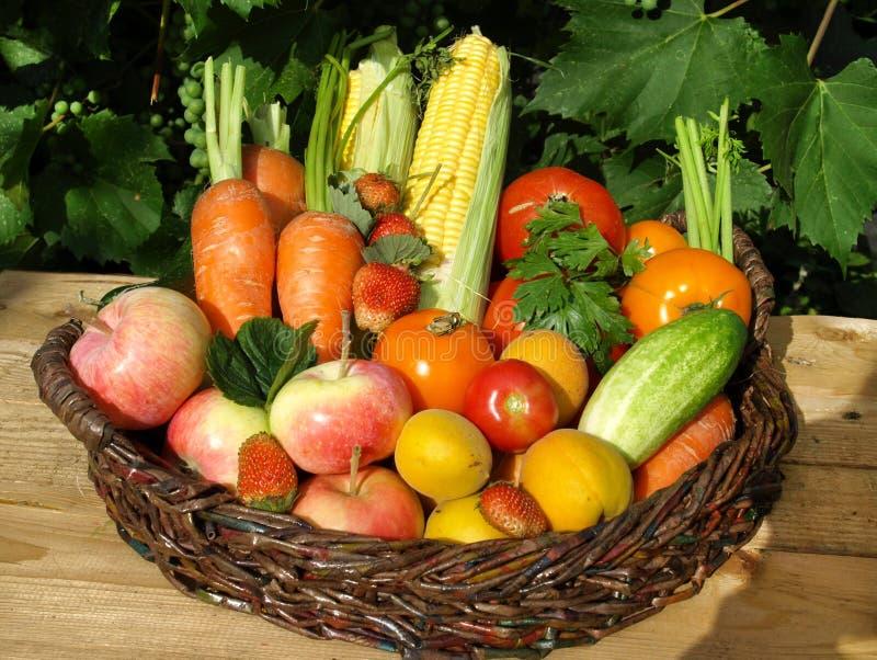 Grönsaker och frukter i korgen royaltyfri fotografi
