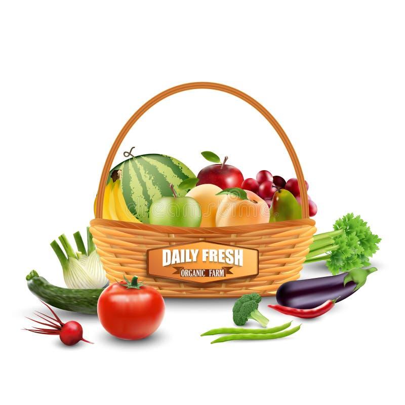 Grönsaker och frukter i vide- korg på vit stock illustrationer