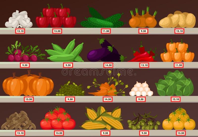 Grönsaker på marknaden ställer ut eller shoppar stallen royaltyfri illustrationer