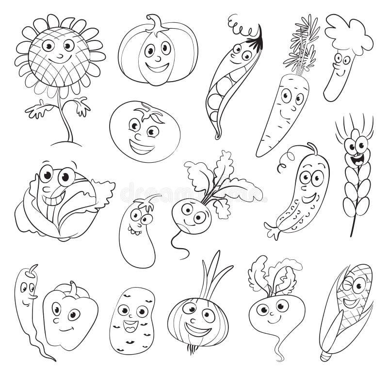 Grönsaker roligt tecknad filmtecken royaltyfri illustrationer