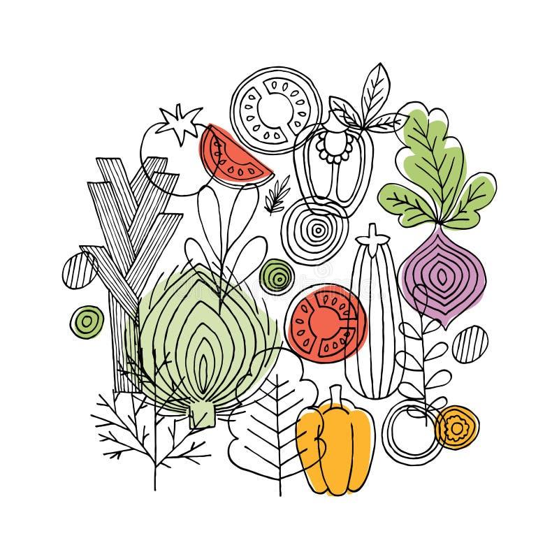 Grönsaker rundar sammansättning Linjärt diagram Ny röd pepparpaprika på trä i tappninginställning Skandinavisk stil sund mat ocks vektor illustrationer