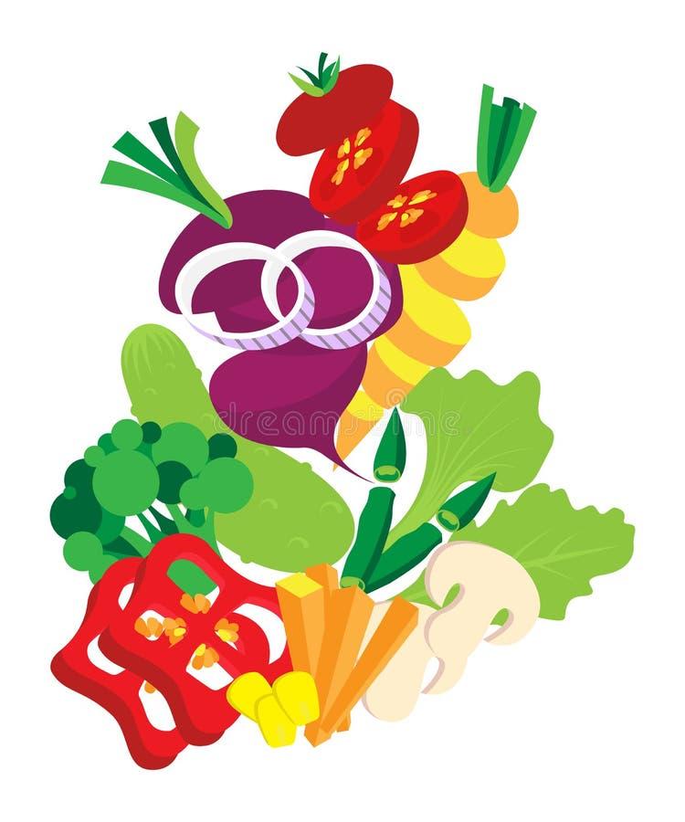 Grönsaker ställde in bakgrund också vektor för coreldrawillustration Klipp skivade och högg av olika grönsaker vektor illustrationer