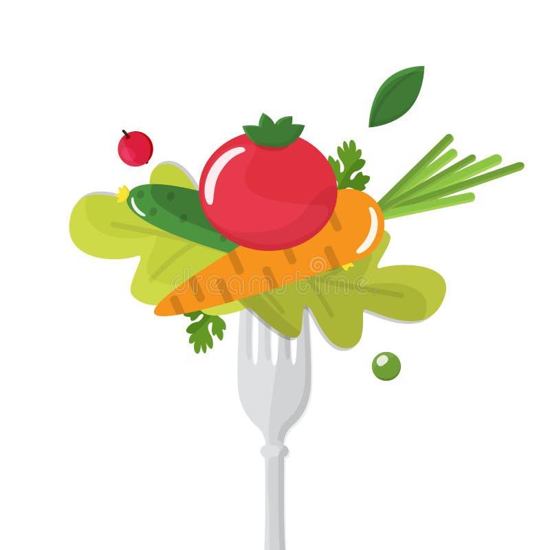 Grönsaker sticked på gaffel äta för begrepp som är sunt stock illustrationer