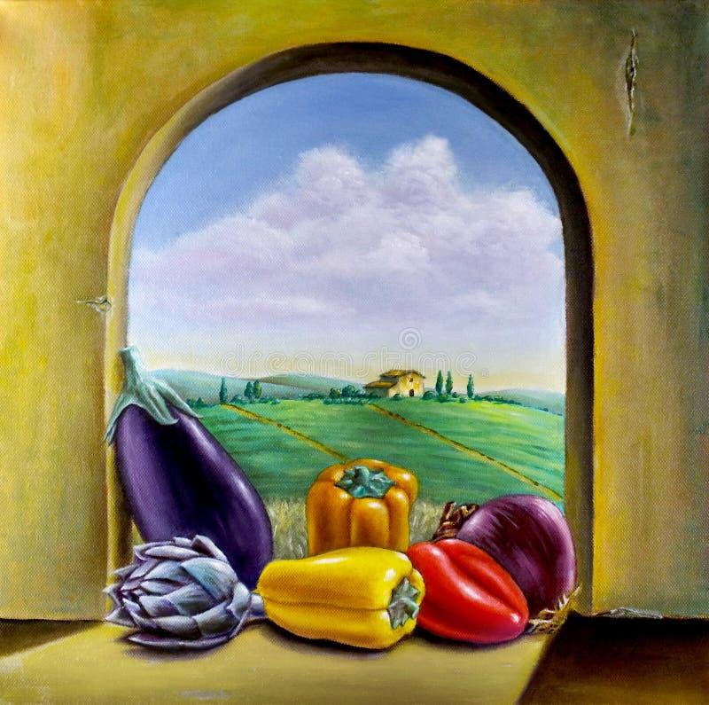Grönsaker vid fönstret royaltyfri illustrationer
