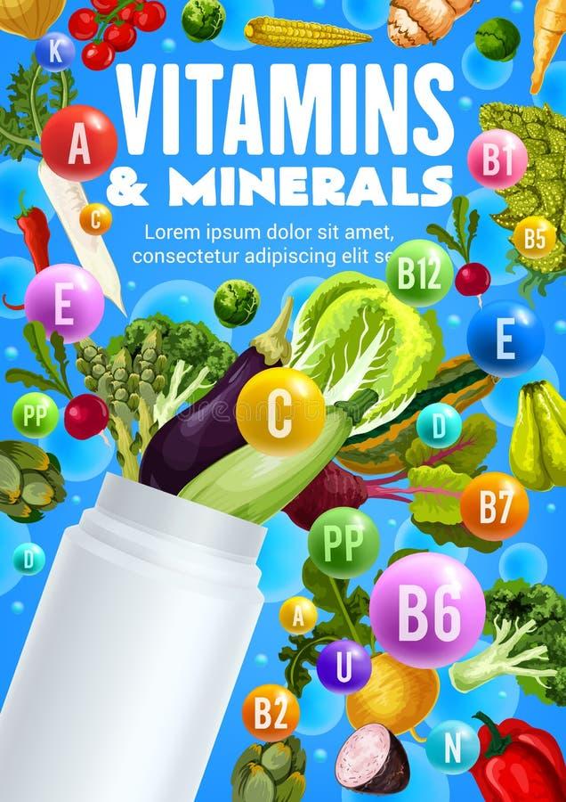 Grönsaker, vitaminer och plast- flaska för mineraler royaltyfri illustrationer