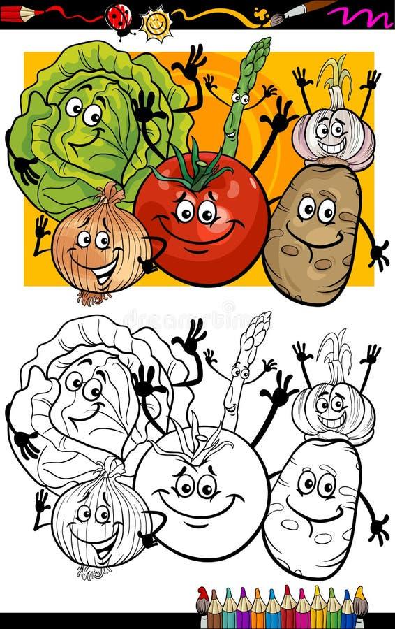 Grönsakgrupptecknad film för färgläggningbok vektor illustrationer