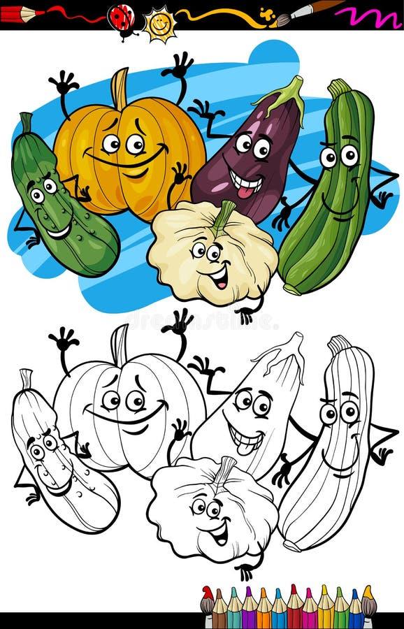 Grönsakgrupptecknad film för färgläggningbok stock illustrationer