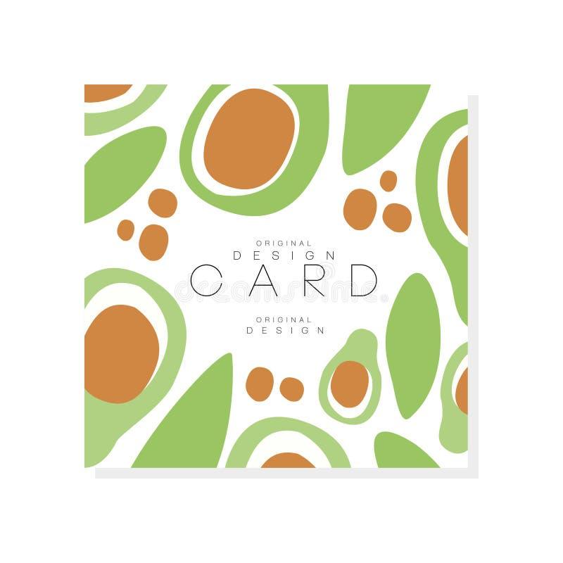 Grönsakkortmall Den gröna avokadot med stort kärnar ur Läcker och sund mat Abstrakt vektordesign för produkt vektor illustrationer