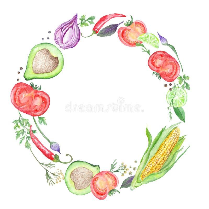 Grönsakkrans på vit bakgrund stock illustrationer