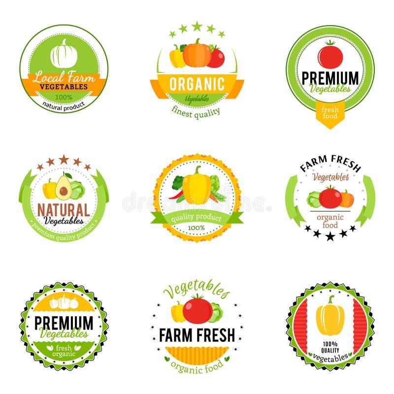 Grönsaklogoer, etiketter och designbeståndsdelar vektor illustrationer
