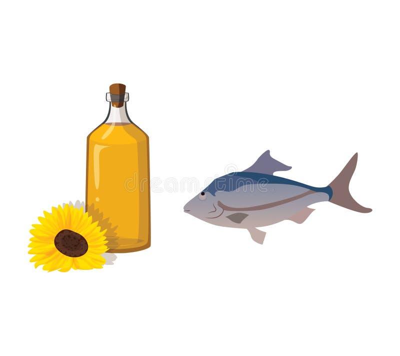 Grönsakolja och fisk - användbara produkter stock illustrationer