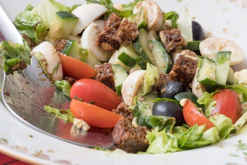 Grönsaksallad av gräsplaner, gurkor, körsbärsröda tomater, vaktelägg, oliv och brödsmällare arkivfoto