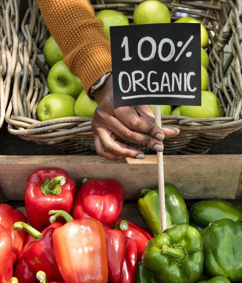 Grönsakshandlare som säljer den organiska nya jordbruksprodukten på bondemarknaden royaltyfri foto