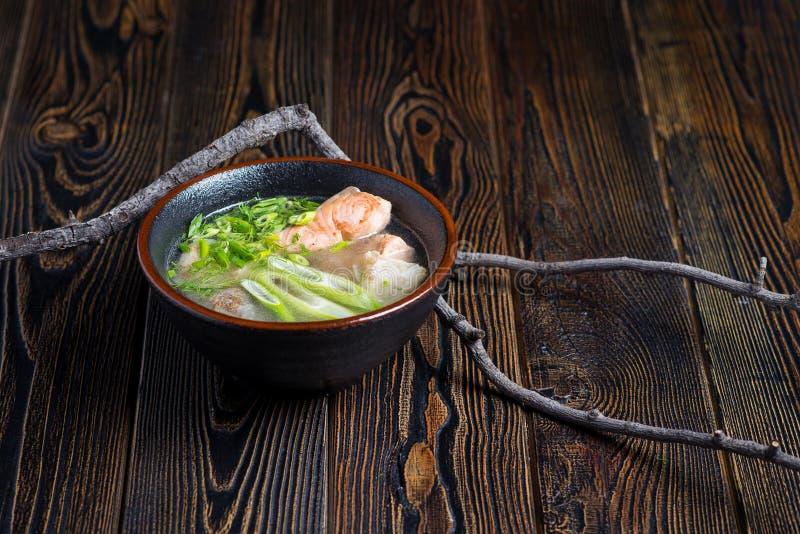 Grönsaksoppa med fisken fotografering för bildbyråer