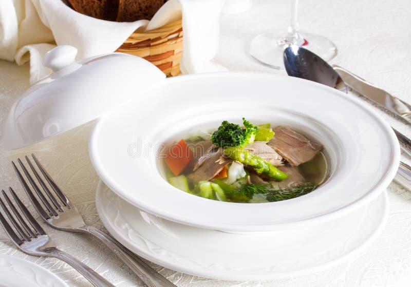 Grönsaksoppa med stycken av kött royaltyfri fotografi
