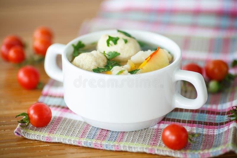 Grönsaksoup med meatballs royaltyfria foton