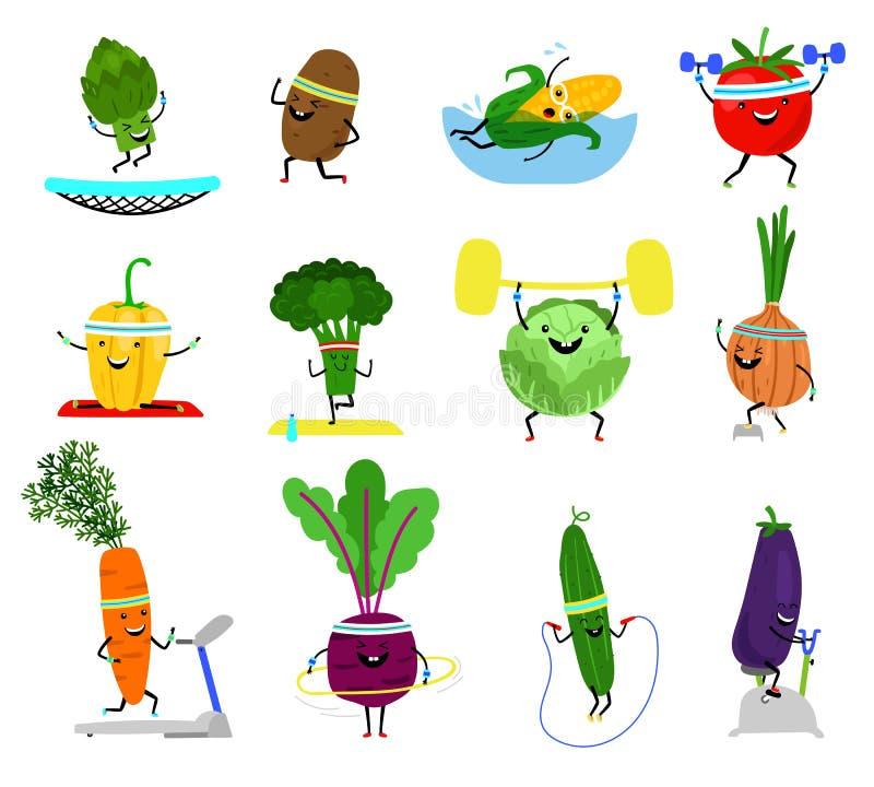 Grönsaksporttecken Rolig uppsättning för wellnessgrönsakmat med att skratta framsidor i sporten som övar, broccolimorot royaltyfri illustrationer