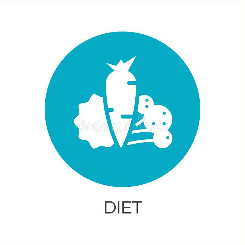 Grönsaksymbol med moroten, sallad och broccoli stock illustrationer