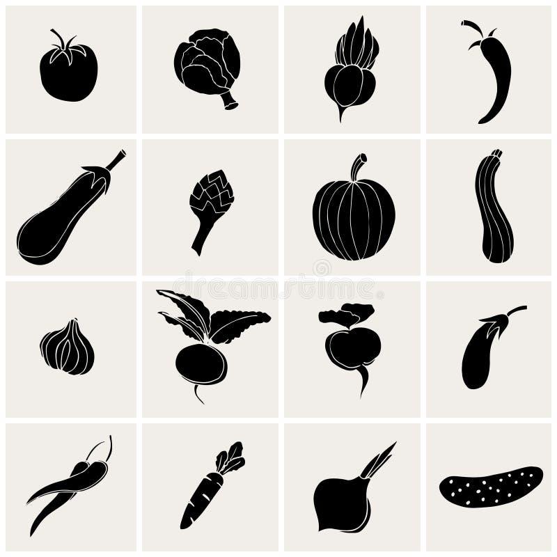 Grönsaksymboler stock illustrationer