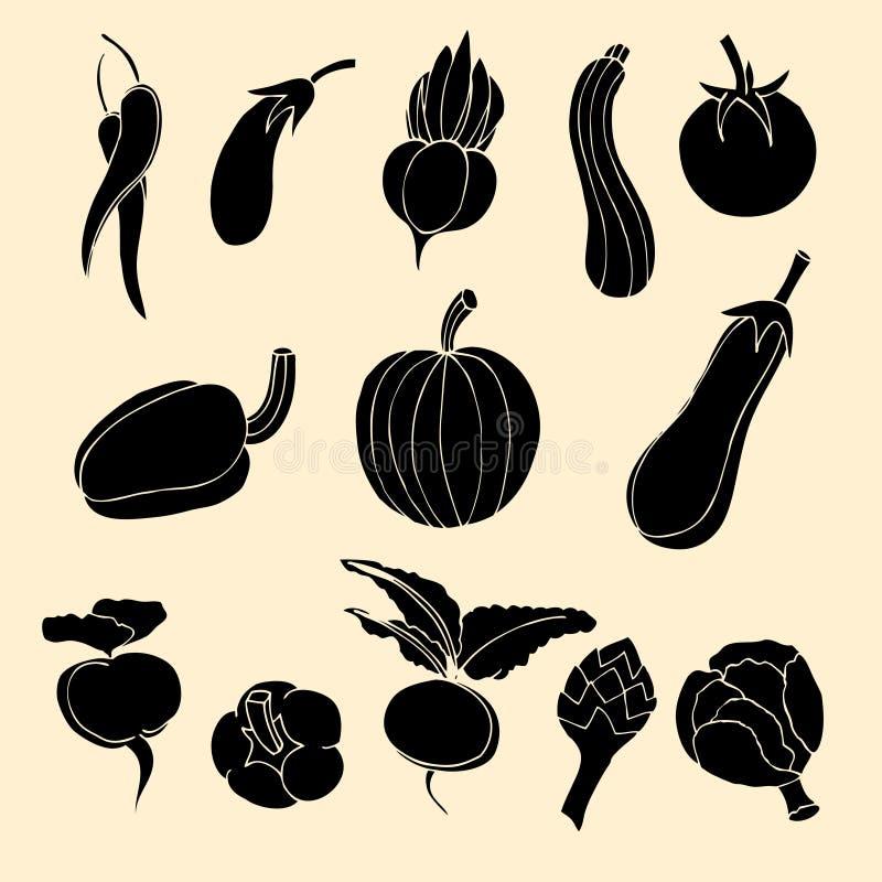 Grönsaksymboler vektor illustrationer