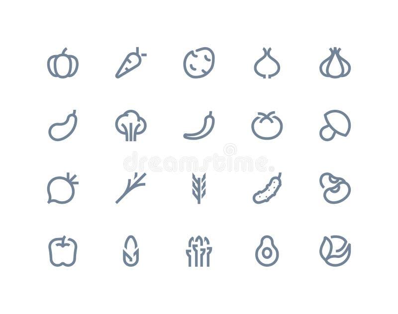 Grönsaksymboler Linje serie vektor illustrationer